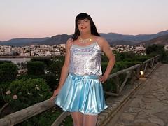 Early morning stroll (Paula Satijn) Tags: blue white hot sexy girl smile happy shiny outdoor silk skirt tgirl crete transvestite satin miniskirt gurl