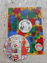 Paris_Avril 2016 (8) (Mademoiselle Berthelot - BricoLLeuse) Tags: streetart paris pasteup collage paint passages bubbles rue bastille rubberstamps oldmagazines urbain