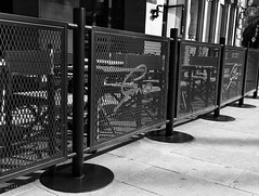 Manchester 2016 (Ollie Smith Photography) Tags: monochrome fence manchester mono blackwhite nikon may citycentre lightroom sigma1750 silverefexpro2 d7200