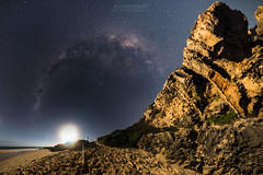 Guilderton Beach Moonset (ASTRORDINARY) Tags: sea sky panorama moon beach night wow nikon nightscape outdoor pano sigma australia panoramic astro explore astrophotography astronomy nightsky milky westernaustralia moonset milkyway guilderton gigapan astrordinary