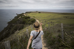 Happy Strolling (dan_walk) Tags: ocean blue sea 3 green girl up grass canon fence eos coast high hiking mark top farm iii hipster australia victoria line adventure explore coastal land cape 5d hillside bridgewater strolling exploremore