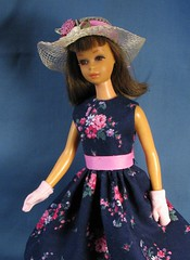 Francie Floral Dress with Gloves (Debras Closet) Tags: pink navy francie dollclothes