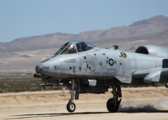 An A-10 Thunderbolt aircraft from Nellis Air Force base lands on a drop zone, at the National Training Center in Fort Irwin, Calif., May 13, 2016.  (U.S. Army Photo by Spc. Kyle Edwards, Operations Group, National Training Center) (Operations Group, National Training Center) Tags: california training airplane army aircraft nevada unitedstatesofamerica calif dropzone usairforce a10 thunderbolt ntc airforcebase landingstrip nellis fortirwin nationaltrainingcenter operationsgroup opsgroup