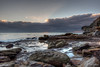 Keeping it behind covers (JustAddVignette) Tags: australia beach clouds dawn early landscapes morning newsouthwales northernbeaches ocean rocks sea seascape seawater sky sun sunrise sydney warriewoodbeach water waves