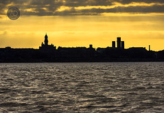 Birkenhead, Because there are two sides to every river. (alun.disley@ntlworld.com) Tags: sunset seascape weather silhouette skyline architecture landscape birkenhead wirral merseyside peninsular rivermersey portsandharbours birkenheadtownhall