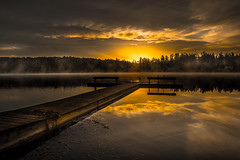 Sunday Morning (jeanmarie shelton) Tags: morning trees light sky sunlight mist lake nature colors fog architecture clouds sunrise reflections dark landscape outdoors dock nikon shadows serene jeanmarie cottagelake jeanmarieshelton