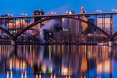 MN_1315_20160131_4912x7361.jpg (Joe Mamer) Tags: travel bridge blue sunset reflection tourism nature water minnesota skyline architecture river landscape outside flow outdoors design midwest scenery natural dusk scenic stpaul architectural mississippiriver northamerica destination environment flowing twincities saintpaul mn span connection highbridge archbridge builtstructure minnesotalandscape