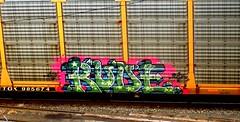 rude (timetomakethepasta) Tags: rude vhue freight train graffiti autorack union pacific