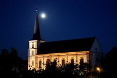 Full Moon Junglinster (demeeschter) Tags: moon church night stars stmartin baroque luxembourg junglinster