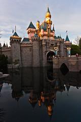 Sleeping Beauty castle reflected in the moat (Doc Johnny Bravo) Tags: california reflection castle disneyland drawbridge anaheim moat