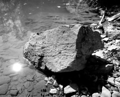 Stone in the water. (wojszyca) Tags: bw orange mamiya nature water stone mediumformat river 50mm shanghai poland 11 filter epson 6x7 bieszczady rz67 4990 perceptol gp3