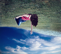 yes I'm walking on a tightrope wire, so afraid to fall (AmyJanelle) Tags: sky grass hair photography upsidedown reaching cloudy hill bluesky falling rotation tightrope curlyhair songs pinkshirt songlyrics aesthetic grasshill fallingintothesky ronpope