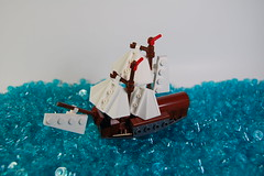 Microscale Ship #1 (neon relics) Tags: ocean voyage sea history water toy lunch boat wooden kayak sailing ship lego pirate sail moc afol microscale