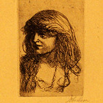 "<b>Head with Necklace</b><br/> John Sloan(1871-1951) ""Head with Necklace"" Etching, 1913 LFAC #1997:08:33<a href=""//farm8.static.flickr.com/7057/6852457491_262a280f08_o.jpg"" title=""High res"">∝</a>"