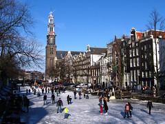 Prinsengracht (Vineyards) Tags: winter amsterdam iceskating thenetherlands prinsengracht mokum grachten jordaan 2012 westertoren schaatsen walkingonwater