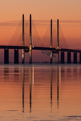 pylons (Andreas Hagman) Tags: bridge pink sunset sea sky cloud reflections copenhagen prime wire purple sweden smoke tripod scandinavia pylons malm suspensionbridge goldenhour floe aftersunset resund resundsbron calmwater contemporaryarchitecture sonyalpha minolta200mm28 slta77 ginordicfeb12 icefloes