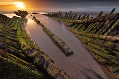The Burnham on sea shipwreck (Andy Fox Photography) Tags: wood sunset sky blackandwhite stilllife abandoned beach weather clouds oregon reflections square outdoors oak sand ancient timber decay theend nopeople textures shipwreck damaged scrap silhoette dory burnham burnhamonsea longship misfortune clinker coatal berrow oldruin somrset nauticalvessel