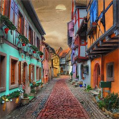 The red path (Jean-Michel Priaux) Tags: colors architecture photoshop way village path ruelle rue picturesque hdr colombage pittoresque eguisheim priaux mygearandme ringexcellence flickrstruereflection1