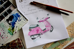 Moped Doodle (noriko.stardust) Tags: pink watercolor painting notebook paint drawing diary journal blogger doodle watercolour moped journalling notebookism