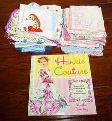 Yesterday's flea market purchases (DollyBeMine) Tags: floral fashion vintage shopping book clothing doll hand dress handmade linen sewing barbie craft style clothes made fabric dresses handkerchief fleamarket crafting hankie hanky hankiecouture marshagreenberg