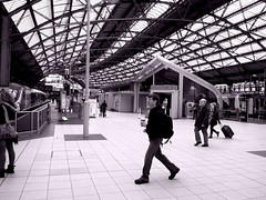 Lime Street Moment (18mm & Other Stuff) Tags: city england urban blackandwhite bw architecture liverpool nikon documentary railway limestreetstation nikons8000 liverpoolwenesday