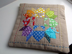 Mini Swoon Zipper pouch (Laura @ Needles, Pins and Baking Tins) Tags: rainbow swoon linen pouch perle hst zippypouch mouthystitches swoonalong