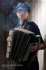 Music people (Belodarova Kseniya) Tags: music woman white black art girl beautiful sepia photo concert cigarette smoke performance accordion musical instrument kseniya belodarova
