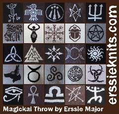Magickal Throw (The Erssie Knits Collection) Tags: chart motif square knitting symbol witch craft egyptian wicca throw pagan aegishjalmur helmofawe