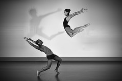 Double Team (Narratography by APJ) Tags: blackandwhite bw ballet woman beautiful modern fly athletic jump dancers flight jazz apj narratography