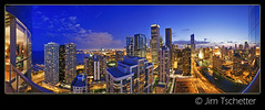 The view. (IC360) Tags: city chicago skyline illinois twilight cityscape view skyscrapers pano lakemichigan highrise bluehour chicagoriver amocobuilding ic360images jimtschetter