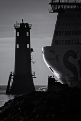 ship ahoy (zip po) Tags: sea blackandwhite dublin lighthouse silhouette ferry bnw bullwall
