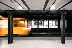 yellow bolt (Roger_T) Tags: city yellow train underground subway traffic budapest tube railway zug bahnhof gelb trainstation stadt ubahn verkehr ungarn pest 2012 ubahnstation undergroundrailway selectivecolours sonyalpha200 selektivefarben