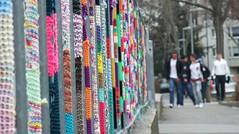 urban knitting crew (rainbowcave) Tags: wool fuji hauptstadt finepix fujifilm zaun rhine rhein mainz rheinlandpfalz wolle geländer stricken rheinmain rhinelandpalatinate guessedmainz rheinmaingebiet urbanknitting finepixf200exr f200exr rainbowcave