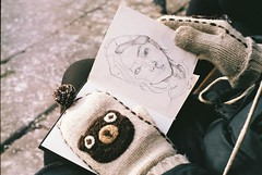 sarah's sketchbook (susan xie) Tags: bear portrait england london film moleskine 35mm minolta drawing sketchbook mittens x700