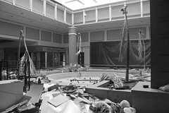 Abandoned Cloverleaf Fountain Plaza (Fire At Will [Photography]) Tags: urban bw white black building abandoned retail mall virginia store decay richmond explore abandon exploration chesterfield urbex cloverleaf
