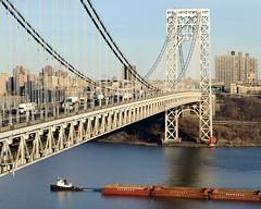 George Washington Bridge over the Hudson River, New York-New Jersey (jag9889) Tags: bridge ny newyork puente boat newjersey crossing suspension nj bridges ponte buchanan pont hudsonriver tug brcke gw barge gwb waterway georgewashingtonbridge littleredlighthouse workboat 2011 bergencounty othmarammann panynj portauthorityofnewyorkandnewjersey k007 jeffreyshooklight y2011 jag9889