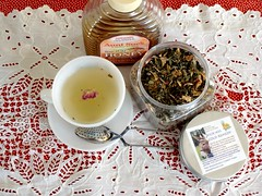 Remedy (itchinstitchin) Tags: red white cold cup table natural tea herbs drink spoon health honey jar medicine setting sick polkadot loose strainer rosepetal remedy