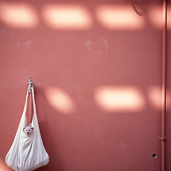 pink wall* (miki**) Tags: pink light shadow 120 wall bag timber okinawa   koza rolleiflex35f