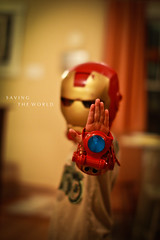 Day 68 - 365 Saving The World (lukethephotographer) Tags: world blue boy red 3 man cute photoshop canon project lens eos 50mm photo iron day photographer dof play little bokeh luke super adobe hero 7d laser 365 usm saving beams lightroom pretending 12l f12l lukethephotographer