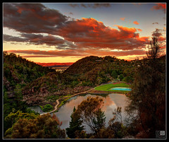 View of Cataract Gorge from lookout (darreng2011) Tags: trees sunset sky water pool clouds path lookout tasmania launceston cataractgorge dblringexcellence