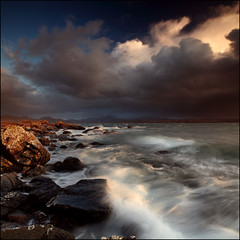 Loch Gairloch (angus clyne) Tags: ocean light sunset sea sun mountain seascape storm west art beach