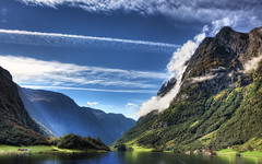 Majestic Norway (TheFella) Tags: trees light sky sun mountain mountains slr water sunshine norway clouds digital photoshop canon river eos daylight norge photo high dock europe day village dynamic sunny unesco worldheritagesite huts photograph processing 5d fjord daytime nordic rays bergen dslr scandinavia majestic range hdr highdynamicrange breathtaking hordaland flm markii gudvangen sognefjord postprocessing photomatix nryfjorden aurlandsfjord kingdomofnorway thefella 5dmarkii conormacneill thefellaphotography