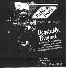 RECALLED - Vegetable Biryani
