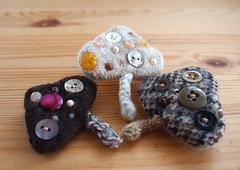 Felted Mushroom Pins with Antique Buttons & Gems (natsuko.m) Tags: wool mushroom knitting natural felting handmade brooch knit craft jewelry felt fabric spinning dye dyeing handspun needlefelt naturaldye