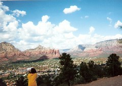 view from Sedona airport area (just me julie) Tags: blue trees arizona sky mountains clouds day cloudy sedona redrock