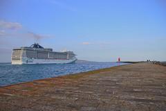 Leaving Port (Colin Kavanagh) Tags: ocean cruise sea dublin lighthouse evening bay pier maritime views splendida cruiseship photowalk msc liner poolbeg irishsea seafarer dublinbay