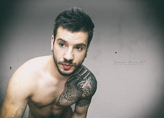 I Just want You (SammDewaele) Tags: blue black hot male men guy smile hair beard model arm body muscle chest simple tatto outstanding