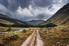 Through the Valley (Neillwphoto) Tags: trees mountains clouds river path stormy hills valley bachnagairn southesk glendoll