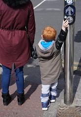 Doing What Little Boys Do (trailrunner55) Tags: travel ireland boy dublin irish trafficlight redhead crosswalk boywithredhair boyholdingcrosswalkbutton boyholdingwomanshand
