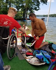 p33 installing new seat 1 (melissambwilkins) Tags: world old lake ski june club marina nc wake state north equipment waterskiing cradle adaptive the 2016 badin